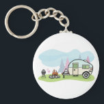 "Vintage Style Camper Keychain<br><div class=""desc"">Like to go camping with a camper then this design is perfect. It is a vintage style camper parked up next to a blazing camp fire. This vintage style camper design looks great on this Keychain</div>"