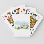 """Vintage Style Camper Playing Cards<br><div class=""""desc"""">Like to go camping with a camper then this design is perfect. It is a vintage style camper parked up next to a blazing camp fire. This vintage style camper design looks great on this Playing Cards</div>"""