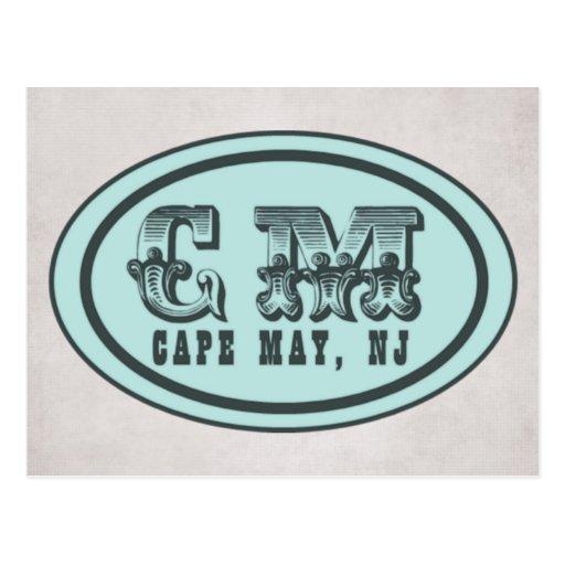 Vintage Style Cape May NJ Beach Tag Postcard