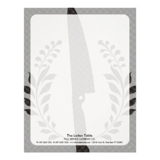 Vintage style chef's knife cooking food catering letterhead