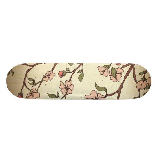 vintage style cherry blossom art skate board deck