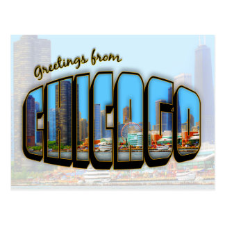 Vintage Style Chicago Cityscape Post Card