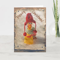 Vintage Style Chicken Christmas Card! Holiday Card