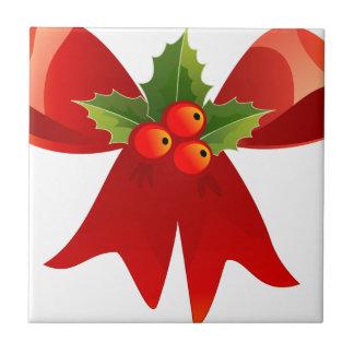 Vintage Style Christmas Bow Ceramic Tile