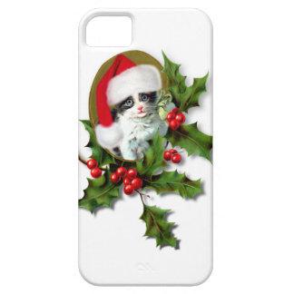 Vintage Style Christmas Kitten iPhone 5 Cases