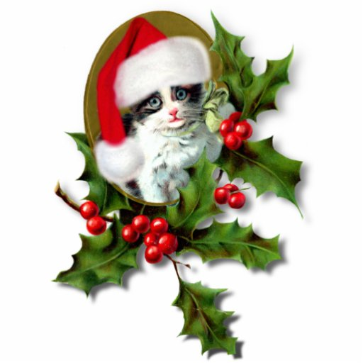 Vintage Style Christmas Kitten Cut Out