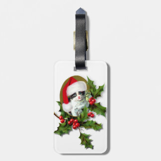 Vintage Style Christmas Kitten Luggage Tag