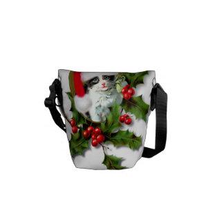 Vintage Style Christmas Kitten Messenger Bag
