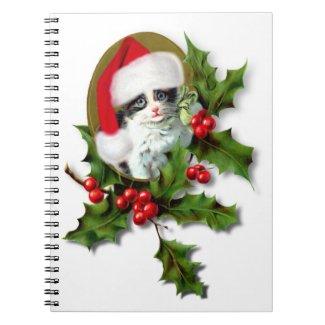 Vintage Style Christmas Kitten Notebooks