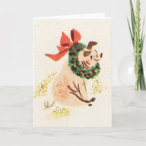 Vintage style Christmas pig greeting cards