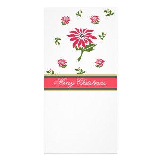 Vintage Style Christmas Poinsettia and Holly Card