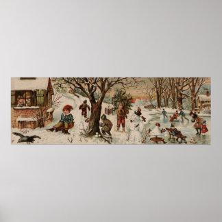 Vintage style Christmas scene Large Decor Print