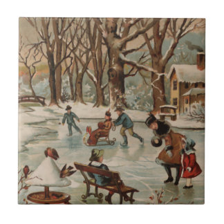 Vintage style Christmas scene Small Square Tile