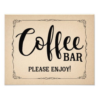 Vintage style coffee bar wedding or party sign