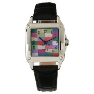 vintage style colorful knitted patchwork squares watches