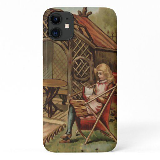 Vintage style country garden scene iPhone 11 case
