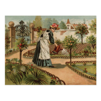 Vintage style country garden scene postcards