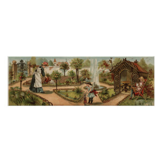 Vintage style country garden scene poster