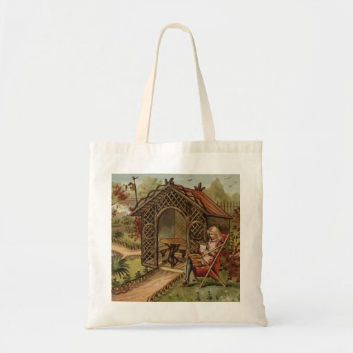 Vintage style country garden scene tote bag