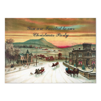 Vintage style Country scene  Christmas Invitation