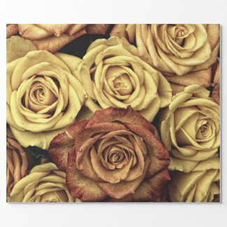 Vintage Style Cream and Red Roses Wrapping Paper