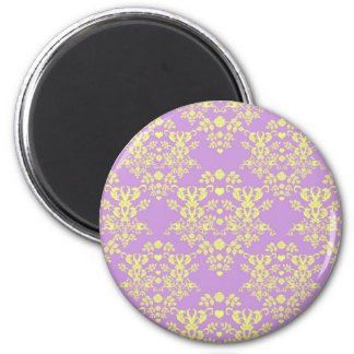 Vintage Style Damask Pattern Lavender and Yellow 2 Inch Round Magnet