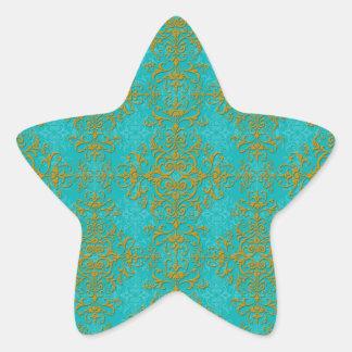 Vintage Style Damask Turquoise Aqua Gold Pattern Star Sticker