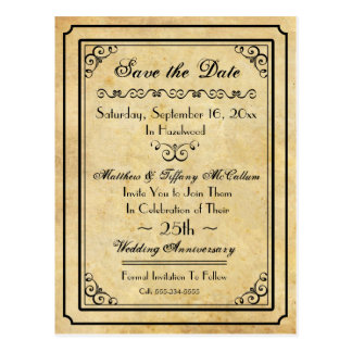 Vintage Style Design Save the Date Postcard