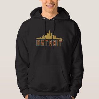 Vintage Style Detroit Michigan Skyline Hoodie