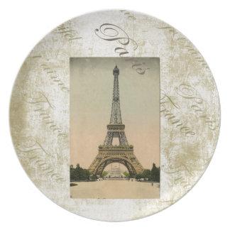 Vintage Style Eiffel Tower Art Dinner Plate