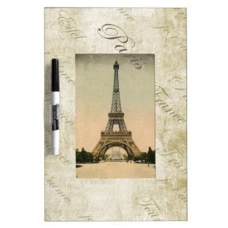 Vintage Style Eiffel Tower Art Dry-Erase Board