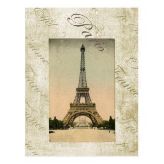 Vintage Style Eiffel Tower Art Postcard
