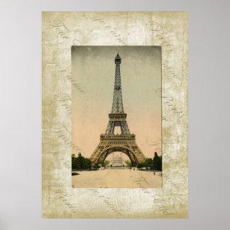 Vintage Style Eiffel Tower Art Poster