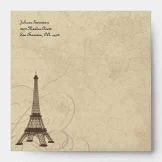 Vintage Style Eiffel Tower Paris Square Envelopes