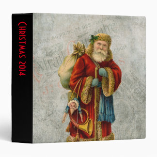 Vintage Style Father Christmas Santa Claus 3 Ring Binder