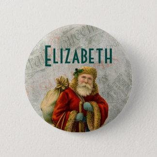 Vintage Style Father Christmas Santa Claus Button