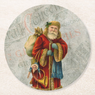Vintage Style Father Christmas Santa Claus Round Paper Coaster