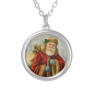 Vintage Style Father Christmas Santa Claus Silver Plated Necklace