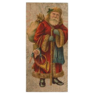 Vintage Style Father Christmas Santa Claus Wood USB Flash Drive