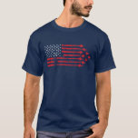 """Vintage Style Fighter Jet American Flag Red White T-Shirt<br><div class=""""desc"""">Our country is the best and you can show off your patriotism with this blue t-shirt featuring a red and white, vintage style, textured United States of American flag where the stripes of the flag are formed by the contrails of a large formation of F-15E Strike Eagle fighter jets. &#39;Merica!...</div>"""