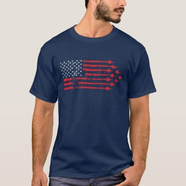 USA Themed Vintage Style Fighter Jet American Flag Red White T-Shirt