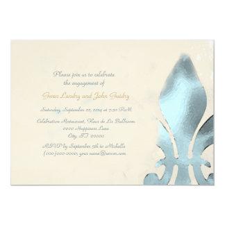 Vintage Style Fleur de Lis Engagement Party Card