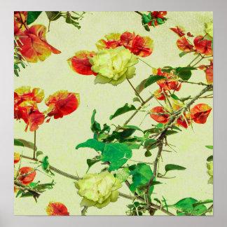 Vintage Style Floral Design Poster