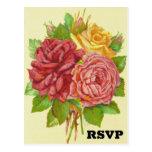 [ Thumbnail: Vintage Style Floral / Flowers RSVP Postcard ]