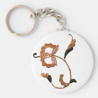 Vintage Style Floral Motif in Beige Brown Basic Round Button Keychain