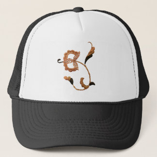 Vintage Style Floral Motif in Beige Brown Trucker Hat