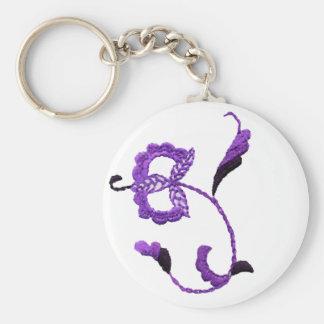 Vintage Style Floral Motif in Purple Plum Basic Round Button Keychain