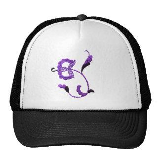 Vintage Style Floral Motif in Purple Plum Trucker Hat