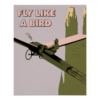 Vintage style Fly like a bird (aviation) Poster