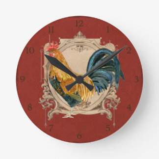 Vintage Style French Country Rustic Barn Rooster Wall Clocks